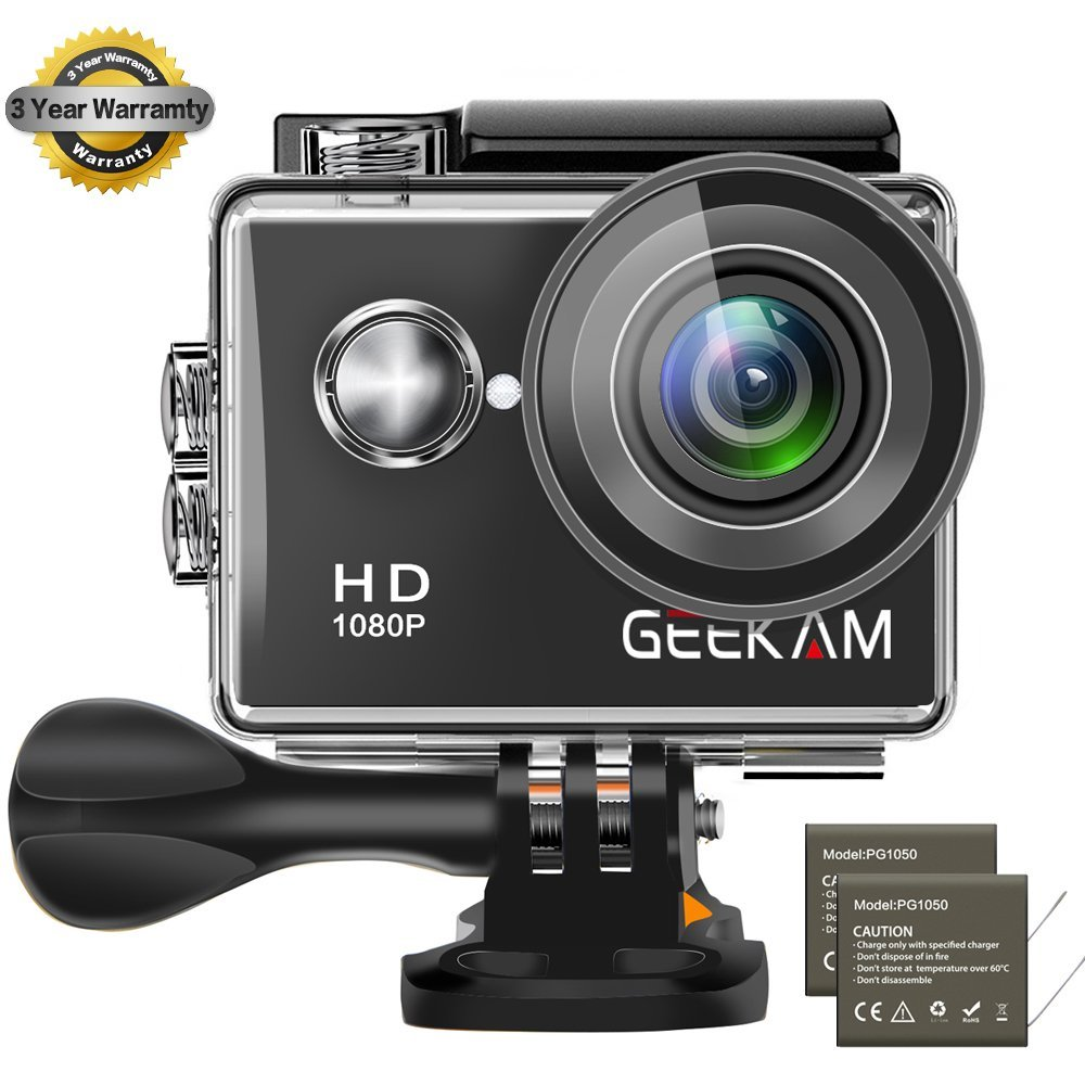 GeeKam Waterproof Camera 1080P Full HD Action Camera Underwater 100 feet 2'' LCD 170 Degree Wide Angle Digital Video Sports Camcorder with 2 Rechargeable 1050mAh Batteries and 20 Pcs Accessories