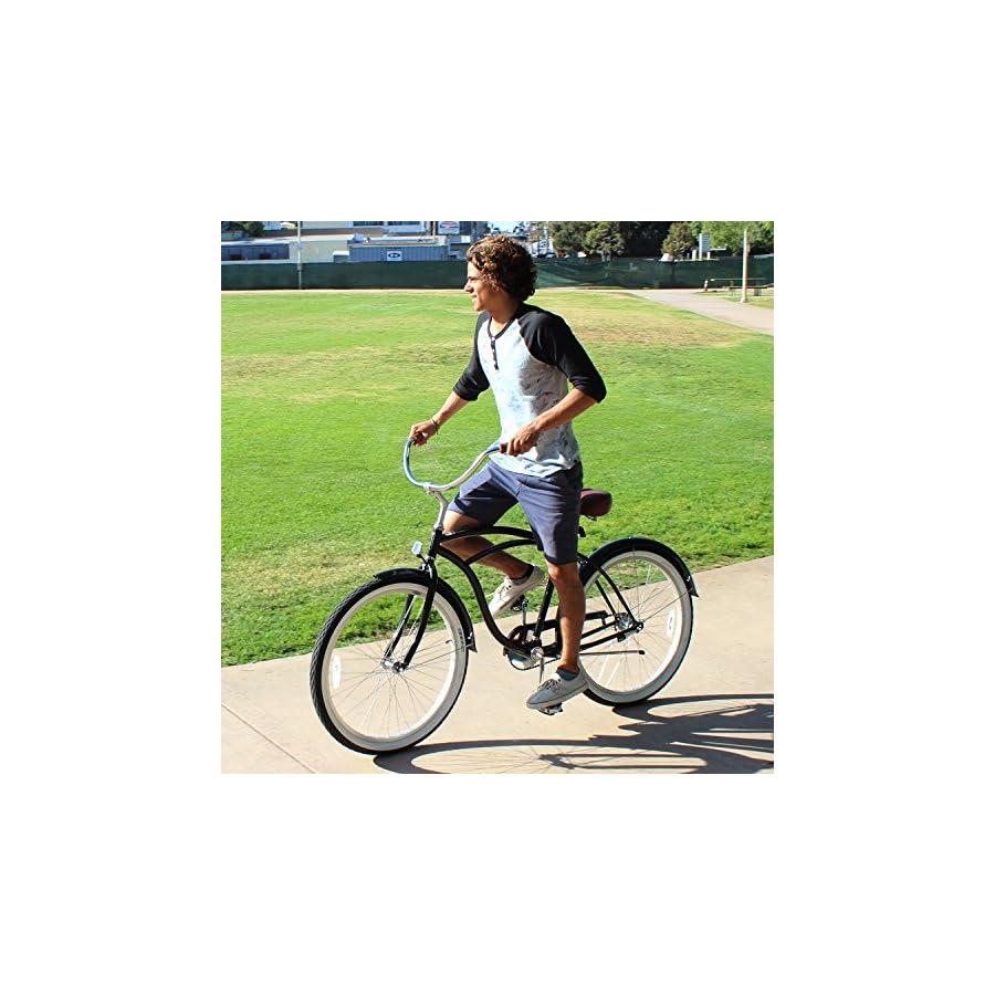 "sixthreezero Men's BE Single Speed Beach Cruiser Bicycle, Black, 26"" Wheels/ 19"" Frame"