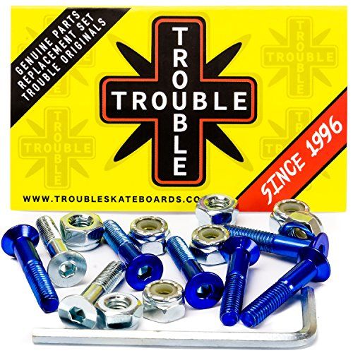 Trouble Skateboards 1 Inch Blue Skateboard Hardware | Allen Mounting Screws Bolts and Nuts (TH2)