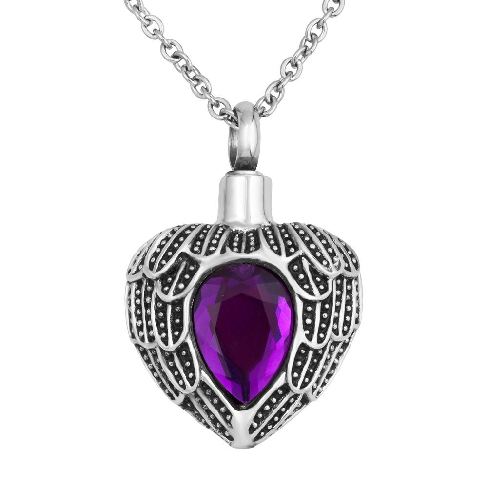 JewelryJo Urn Necklace for Ashes Cremation Keepsake Birthstone Style Angel Wings Love Heart Pendant FEB.