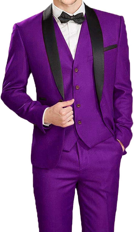 Everbeauty Wedding Suits for Men 3 Pieces Slim Fit Tuxedo Fashion Shawl Lapel Prom Dress Suit Blazer EXZ015 61EGaxht1pLUL1500_