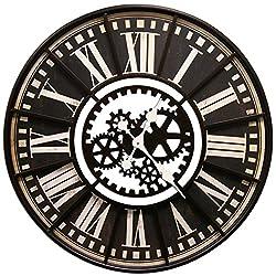 Large Wall Clock with Decorative Gear Look Black 32 Quartz movement