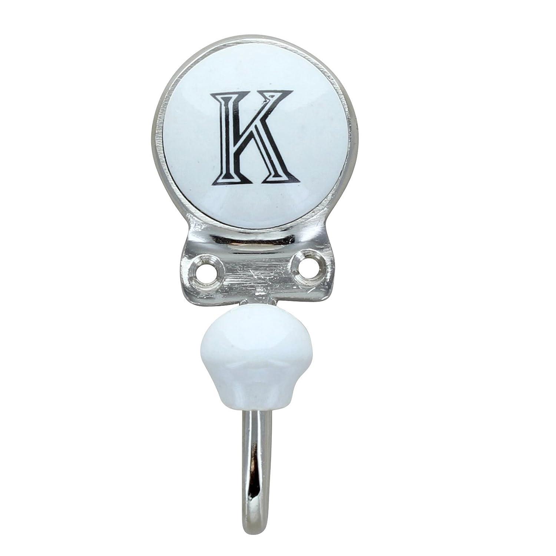 G Decor Alphabet Number Letter Ceramic Vintage Shabby Chic Coat Hook Porcelain K