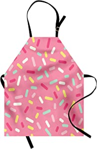 Ambesonne Pink and White Apron, Abstract Pattern of Colorful Donut Sprinkles Tasty Food Bakery Theme, Unisex Kitchen Bib with Adjustable Neck for Cooking Gardening, Adult Size, Pink Yellow