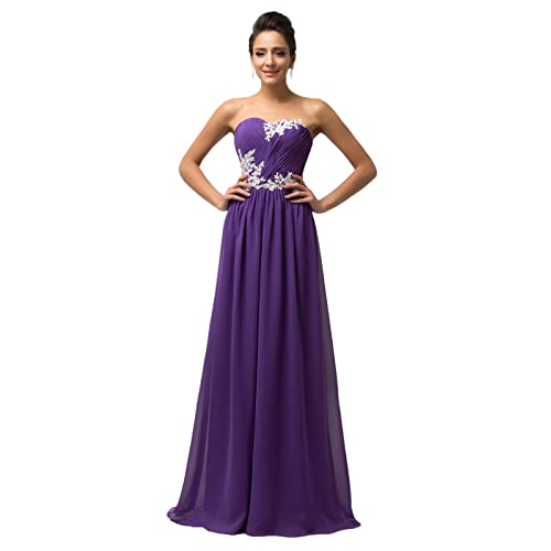 GRACE KARIN Women Long Evening Wedding Dress Chiffon Ball Gowns Prom Bridesmaid Dress with Applique