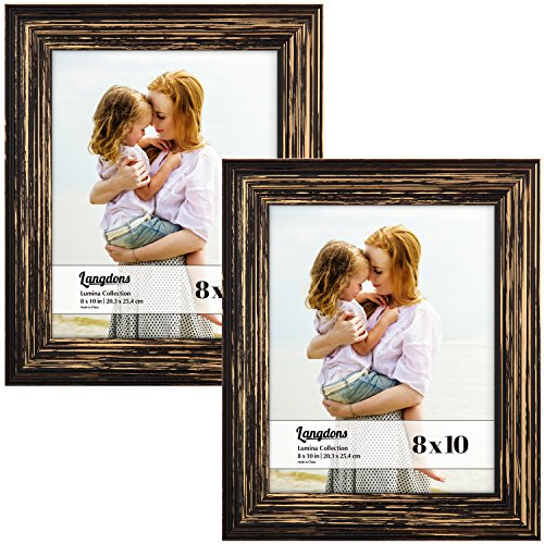 Langdons 8x10 Real Wood Picture Frames (2 Pack, Barnwood Brown - Gold Accents), Brown Wooden Photo Frame 8 x 10, Wall Mount or Table Top, Set Of 2 Lumina Collection