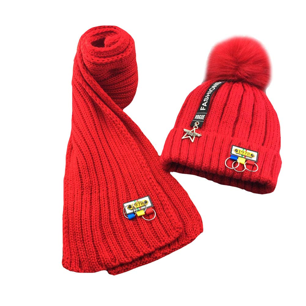 LSERVER Toddler Kids Winter Cute Warm Cap Scarf Girl Boy Hat Child Knitted Soft Protect Set