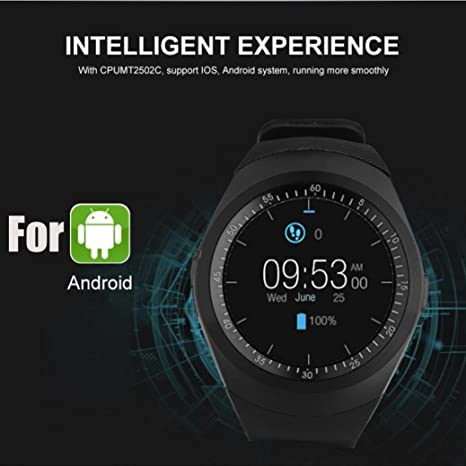 Amazon.com: LtrottedJ 2018 Bluetooth Smart Watch Phone Mate Full Round Screen SIM For Android For IOS (Black): Sports & Outdoors