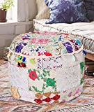 Aakriti Gallery Indian Pouf Footstool Ethnic Embroidered Pouf Cover, Indian Cotton Round Pouffe Ottoman Pouf Cover Pillow Ethnic Decor Art - Cover Only (18x13inch) (White)