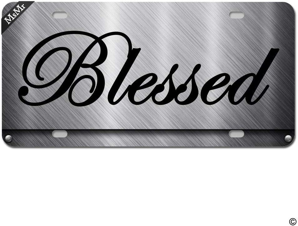 PixDecor License Plate Cover Front License Plate Decorative Car License Plate Novelty Metal License Plate with 4 Holes 12x6 Blessed Design Metal Retro Metal Vintage Sign