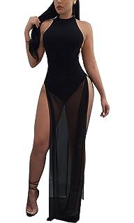 8eb58daae8b Bluewolfsea Women s Sexy Bodycon Clubwear Halter Sheer Mesh Bodysuit Maxi  Dress