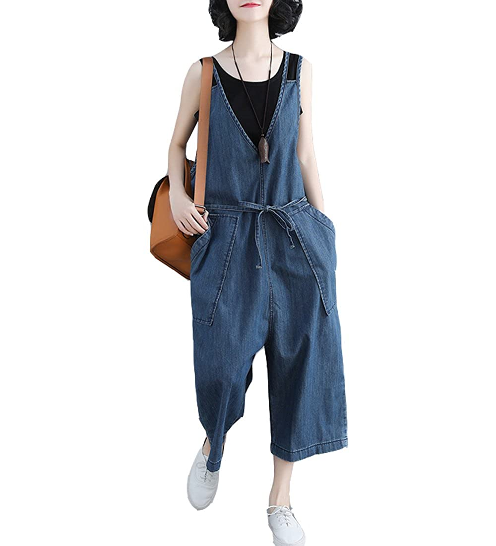 S/&S-women Loose Long Overall Denim Baggy Rompers Jumpsuit Casual Wide Leg Pants