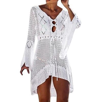 2019 Mujer Encaje v-Cuello Vestido de Playa Liso Beach Cover up Mangas Cortas Verano Camisolas y Pareos Ganchillo la Vendimia borlas Mini Talla Grande Traje baño Bikini Cover up: Ropa y accesorios