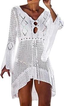 SMILEQ Mujeres Falda Casual Crochet Protector Solar Cubrir Bikini ...