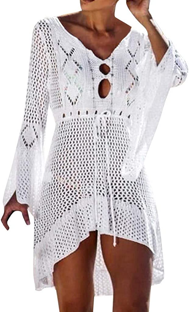 Mujeres Crochet Protector Solar Cubrir Bikini Traje de baño Knit Beach Traje de baño Vendaje