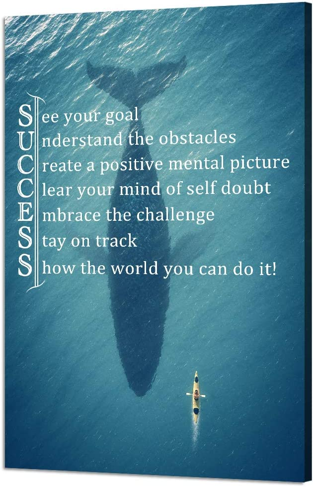 Yatsen Bridge Success Inspirational Quote Canvas Wall Art Whale Shark Motivational Motto Painting Inspiring Entrepreneur Prints Artwork Decorations Framed Giclee for Ready to Hang(12''W x 18''H)