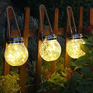 AMOTO Solar Lantern Outdoor Hanging 2 Pack 50 LED (Extra Gift 39.4ft 100LED Light String) Garden Decor Solar Lights for Tree, Table, Yard, Garden, Patio, Lawn, Party Outdoor Decorations (Warm White)