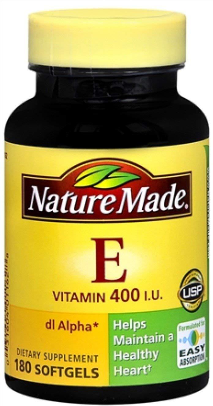 Nature Made dl-Alpha Vitamin E 400 IU Softgels 180 Soft Gels (Pack of 10)