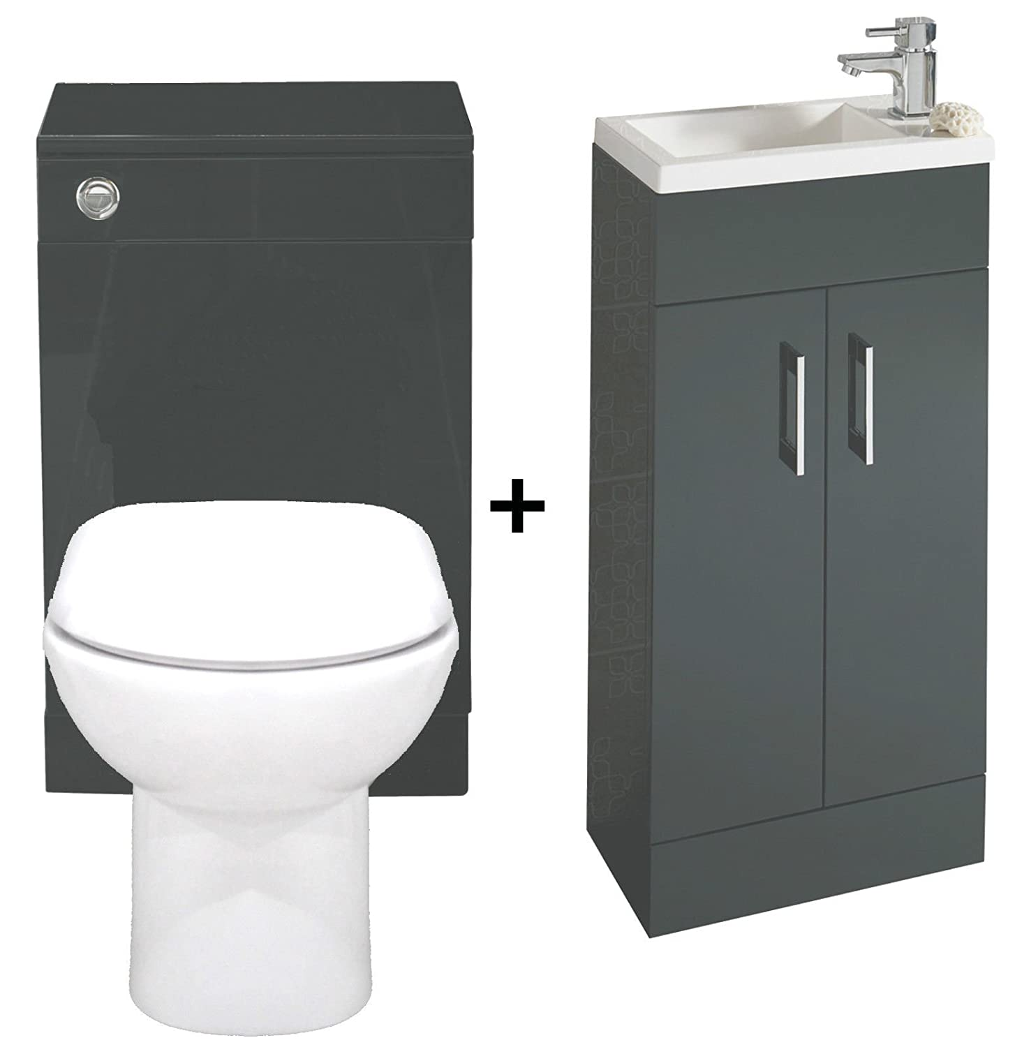 Sink And Toilet Combo Kelvin Anthracite 400 Bathroom Vanity Combination Unit Cloakroom