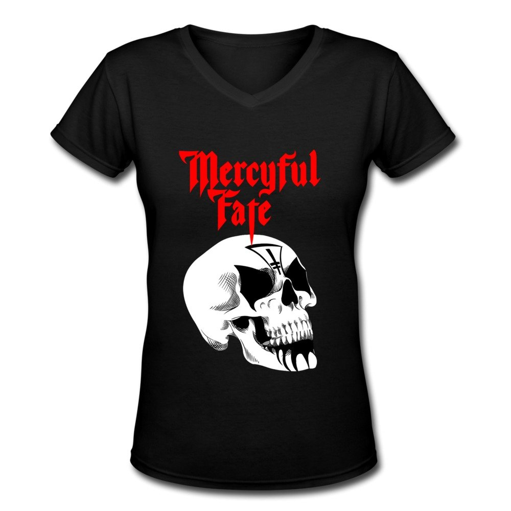 AOPO Mercyful Fate HEAVY METAL Band V-Neck Short Sleeve Tee Shirts For Women
