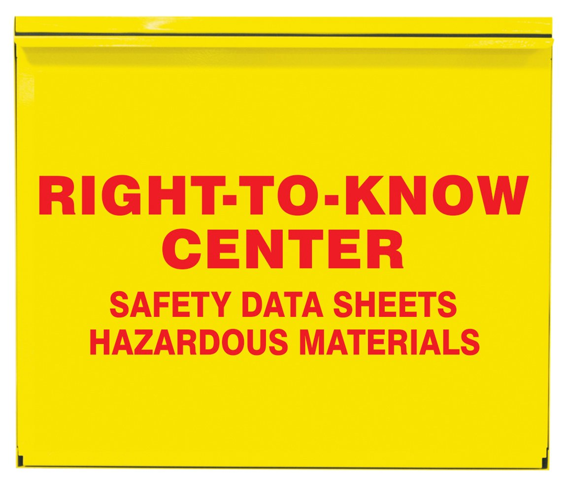 Accuform ZRS388 Right-to-Know Center, 0.035'' Thick Steel Cabinet, 22.5'' x 26.5'' x 5'', Red on Yellow