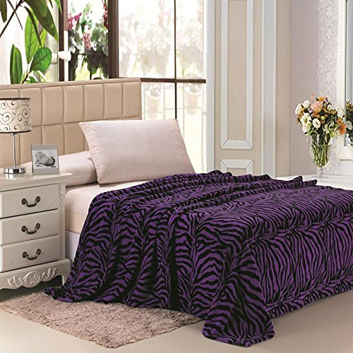 Plazatex Animal Prints MicroPlush Zebra Queen Blanket Purple & Black