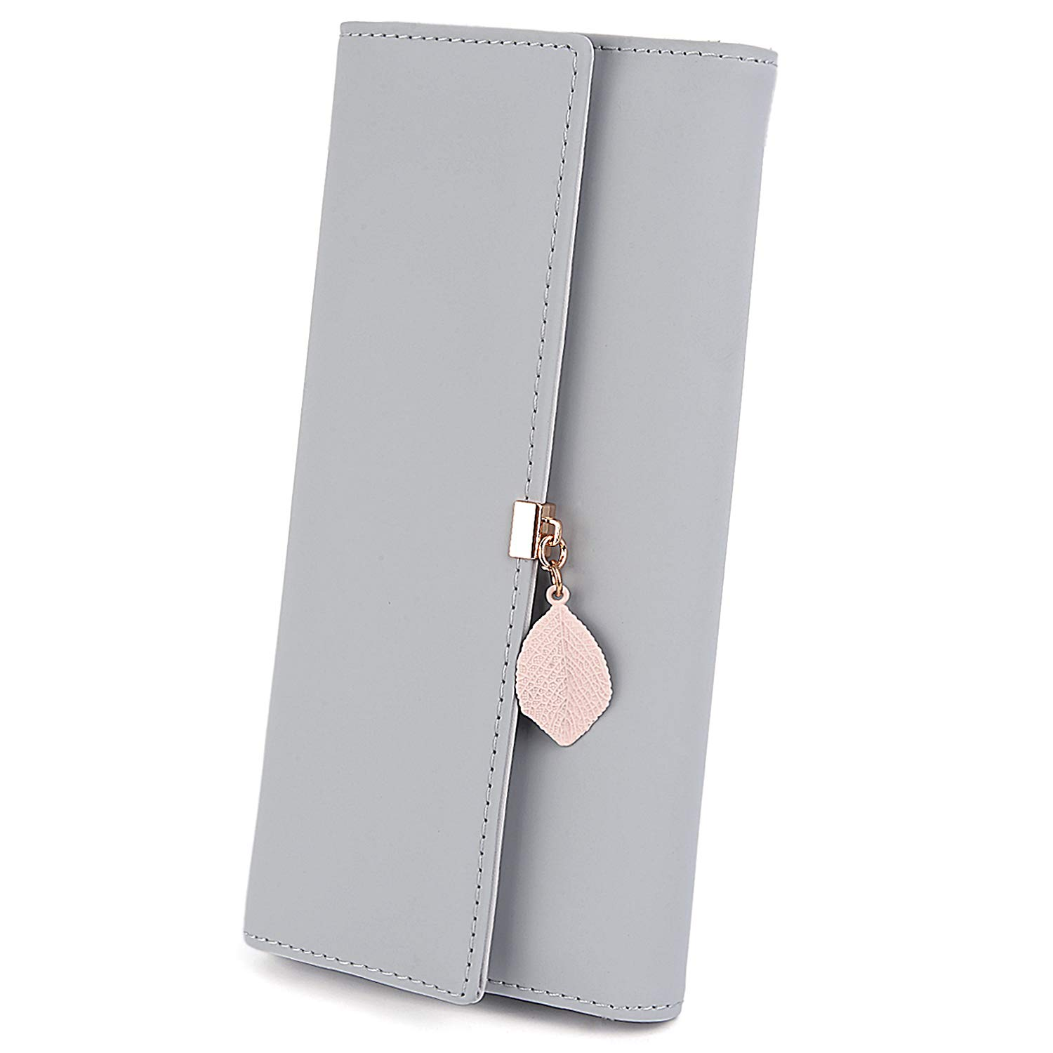 UTO Wallet for Women PU Leather Leaf Pendant Card Holder Phone Checkbook Organizer Zipper Coin Purse