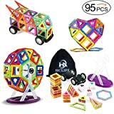 HCLIFE Magnetic Building Blocks Tiles Kit, Creative Educational Construction Eco Stacking Toys for Baby/Kids/Girls/Boys, 95 Piece
