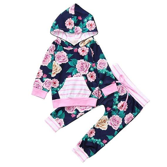K-youth Ropa Niña Conjunto Bebe Niña Recien Nacido Floral Camiseta Pijama Bebés Niñas Otoño Invierno Manga Larga Tops con Capucha y Floral Pantalones 0-24 ...