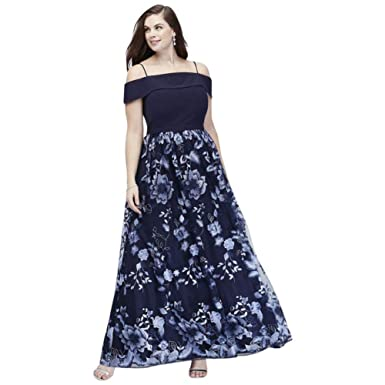 Cold Shoulder Plus Size Ball Mother of Bride/Groom Gown with Floral ...
