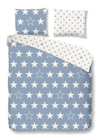 Good Morning 5263 F 135cm Blau Bettwäsche Weißen Sternen 100
