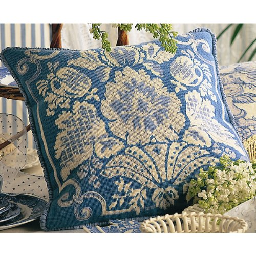Anchor Maia 18th Century Damask Blue Needlepoint Kit Stitched in Wool, 15-3/4 by 15-3/4-Inch