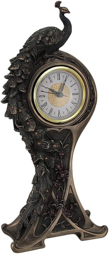 Estilo Art Nouveau Bronce Acabado pavo real reloj de mesa: Amazon ...