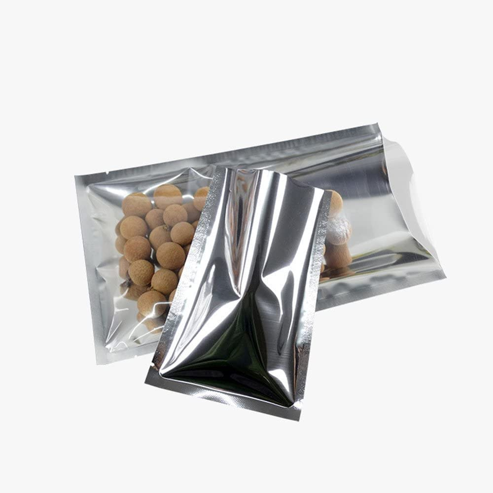 200 Pack 2.4x3.5 inch (2x3.1 Inner Size) Clear/Silver Mylar Foil Smell Proof Small Sample Pouch Aluminum Foil Long Term Bulk Food Storage Mini Bags Vacuum Sealer Wrapping