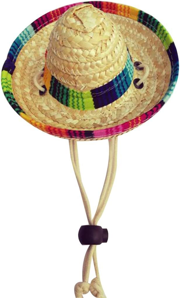 Uzinb Paja Tejida Mexicana para Mascotas Sombrero de Sol Hebilla Ajustable Cuerda Jard/ín Casquillo del Cubo para el Perro peque/ño Gato