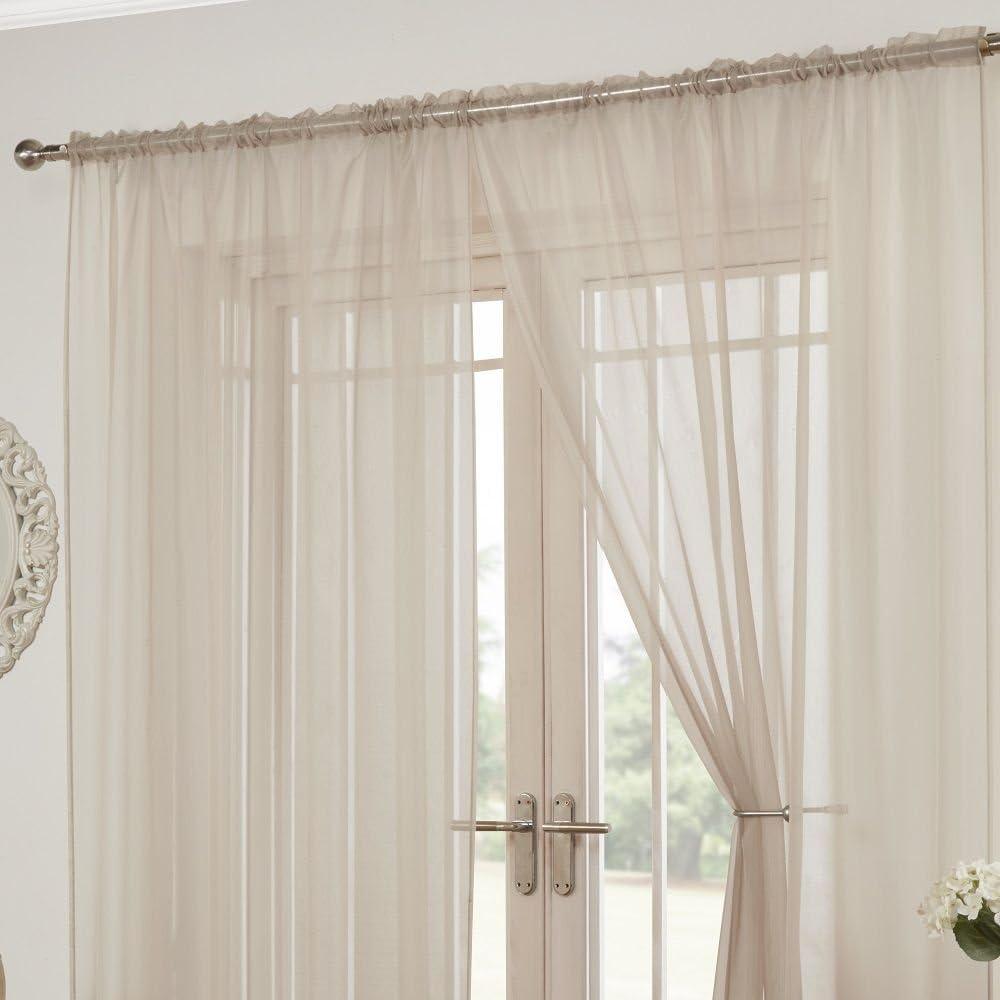 avec Passe-Tringle Lot de 2 Rideaux Lucy Style Voilage Rose Couleur Unie Transparente l 145 x L 91 cm Tonys Textiles