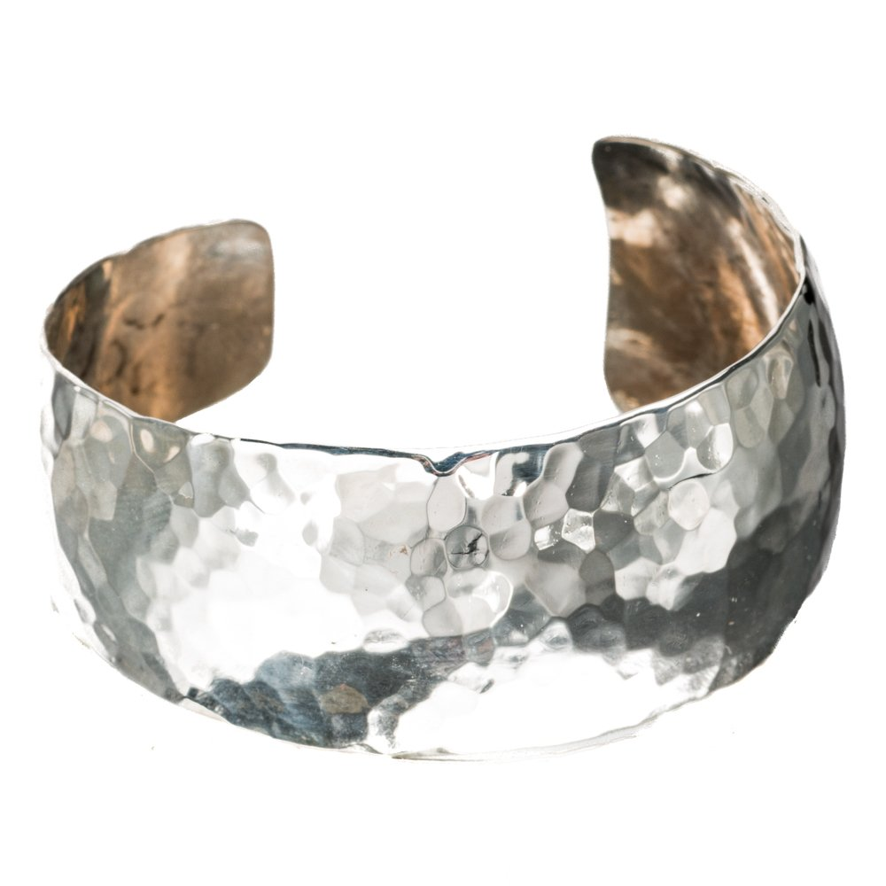 TSKIES Navajo Sterling Silver .925 Hand Hammered Tapered Cuff Bracelet Native American Jewelry (Large)