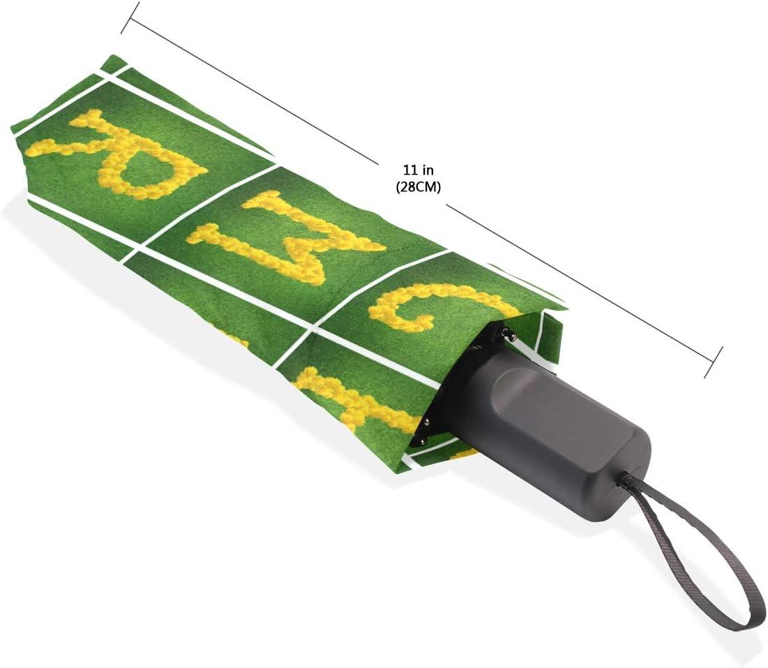 Sun Block Windproof Easy Carry Waterproof Compact Umbrella Green Background Yellow Flower Alphabet Parasol