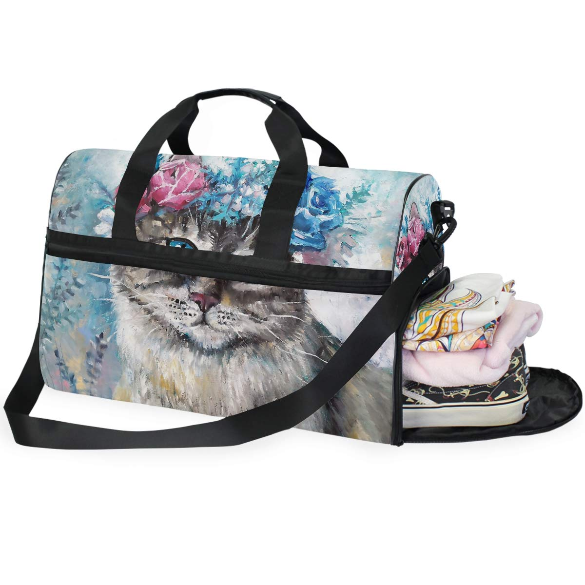 Travel Duffel Bag Vintage Colorful Flowers Cat Waterproof Lightweight Luggage bag for Sports Vacation Gym