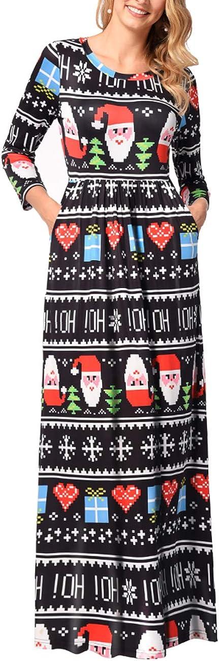 TALLA M=ES 40-42. FeelinGirl Mujeres Vestido Largo Estampado Floral de Fiesta Navidad Falda Maxi de Manga Larga Nochebuena Multicolor-07 M=ES 40-42