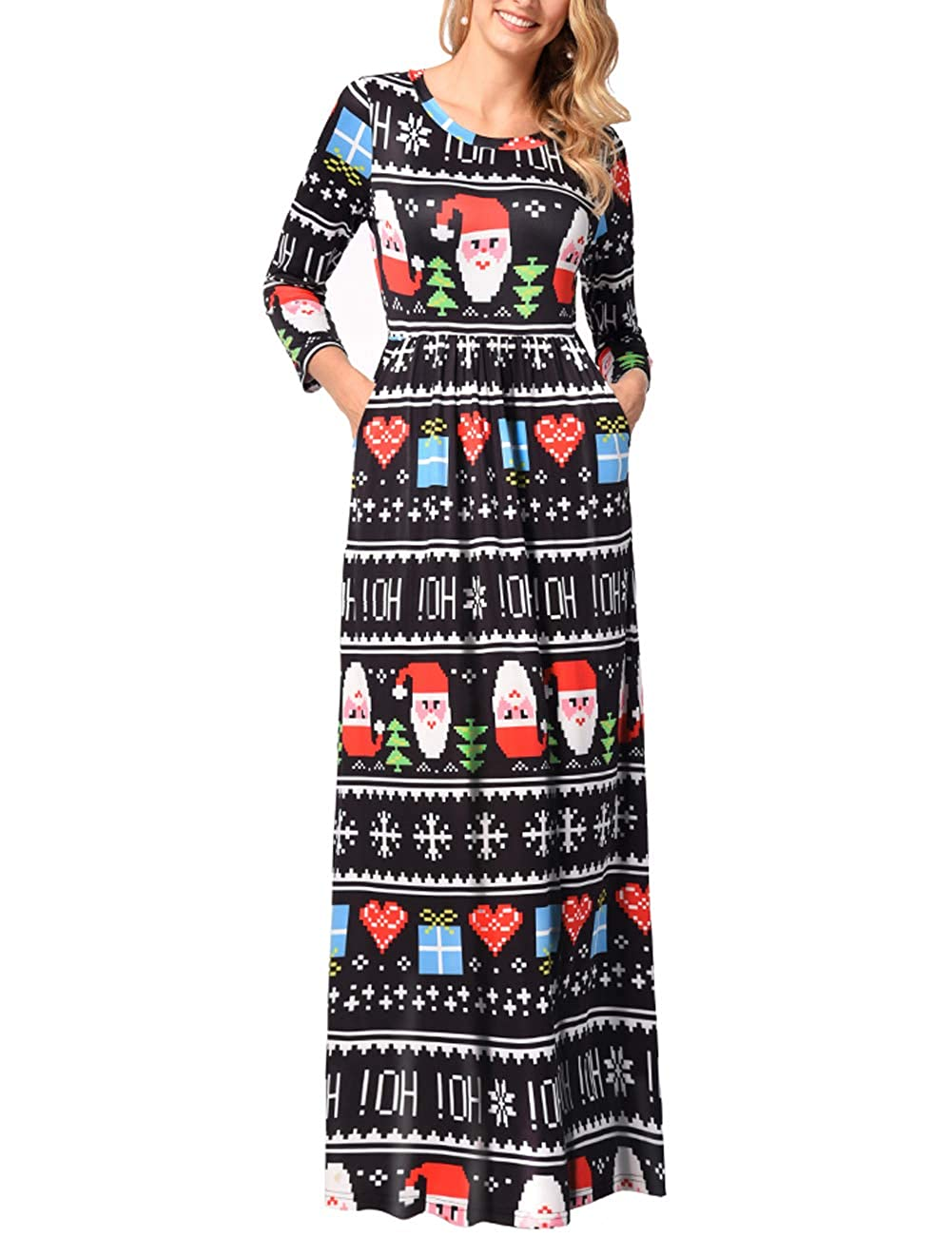 TALLA 3XL=ES 50-52. FeelinGirl Mujeres Vestido Largo Estampado Floral de Fiesta Navidad Falda Maxi de Manga Larga Nochebuena Multicolor-07 3XL=ES 50-52