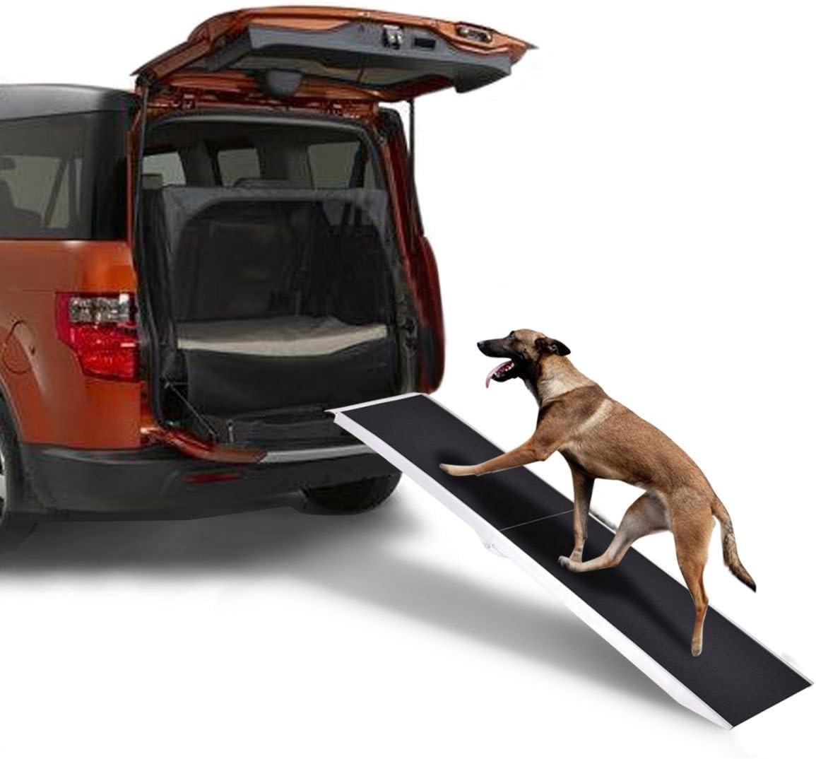 Goplus Pet Ramp Portable Aluminum Folding Paw Safe Dog Ladder Incline Car Truck SUV, 250lbs Capacity