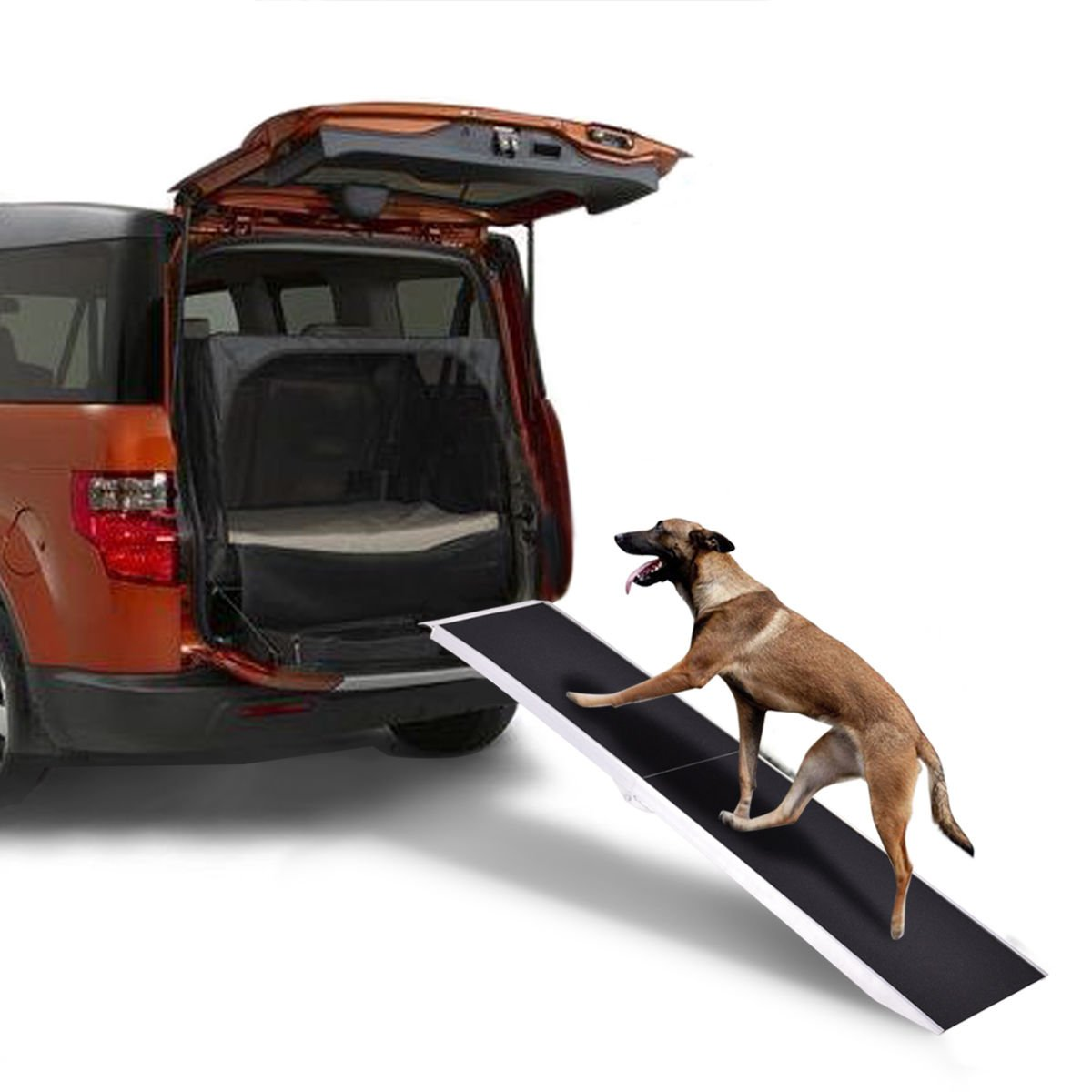8Ft Portable Aluminum Folding Pet Paw Safe Dog Ramp Ladder Incline Car Truck SUV