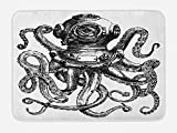 Ambesonne Octopus Bath Mat, Vintage Style Diver Helmet with Marine Animal Tentacles Scuba Concept, Plush Bathroom Decor Mat with Non Slip Backing, 29.5 W X 17.5 W Inches, Charcoal Grey and White