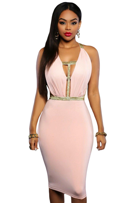 Nuevas señoras rosa sábana bajera ajustable oro correa sin espalda ...