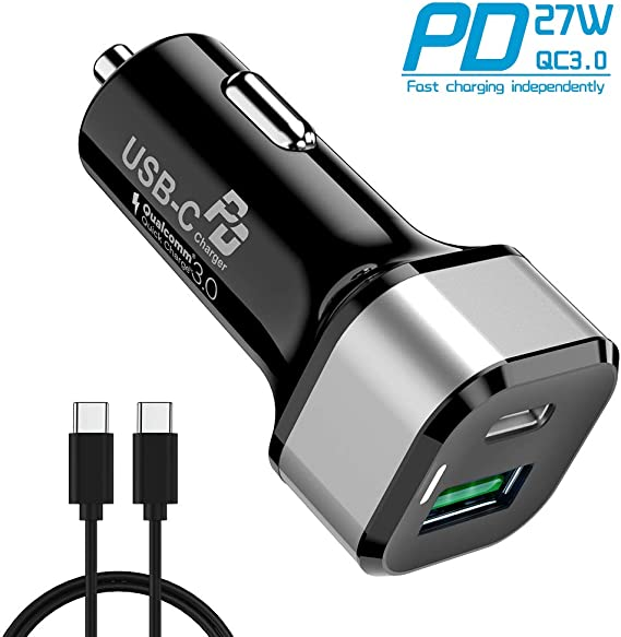 iPad and More Latest 2020 Total 36W Dual Type C Fast PD Car Charger with 18W Power Delivery /& Quick Charge 3.0 for iPhone11 Pro MAX//11 Pro USB C PD Car Charger USB C to A Cable Included