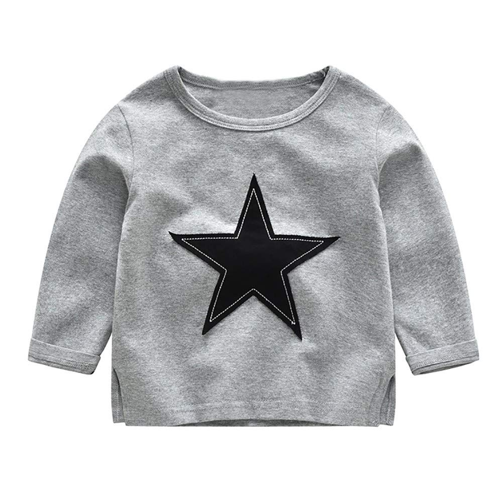 Loveble Toddler Boys Solid Color Casual Star Pattern Long Sleeve Tops+Long Pants