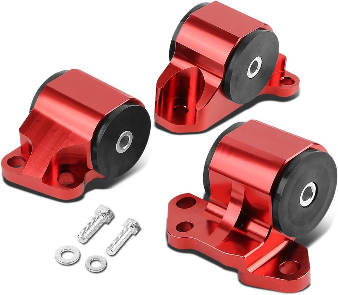 Replacement for Honda Civic/Acura Integra B & D Series MT 3pcs Billet Aluminum 2-Bolt Engine Mount Kit (Red)