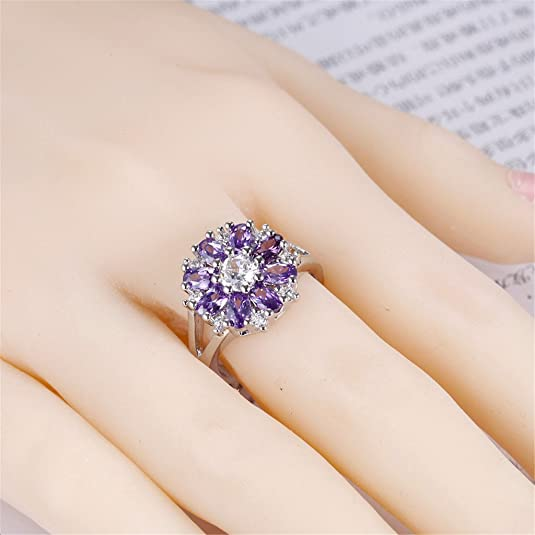 HMILYDYK Women 925 Sterling Silver Plated Snowflake Cubic Zirconia Ring with Purple Amethyst /& Clear Cystals