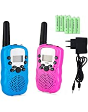 Lomoo Talkies Walkies Rechargeables, Enfants Talkie Walkie Rechargeable 3 km de Long Distance Interphone Cadeau De Noël Enfants Jouets (avec Batteries et Chargeur)(Rose & Bleu)